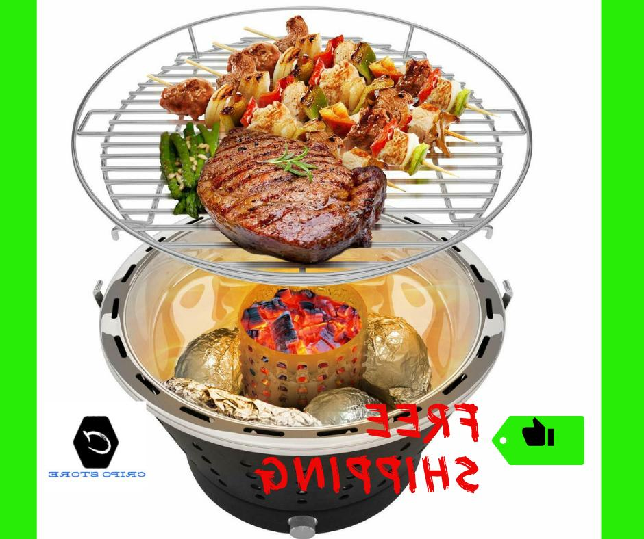 portable smokeless charcoal grill stainless steel bbq