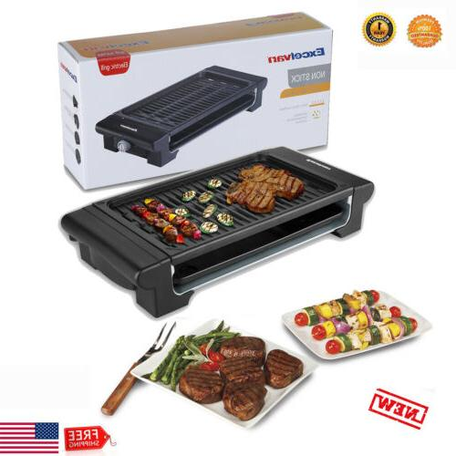 portable smokeless electric grill griddle non stick