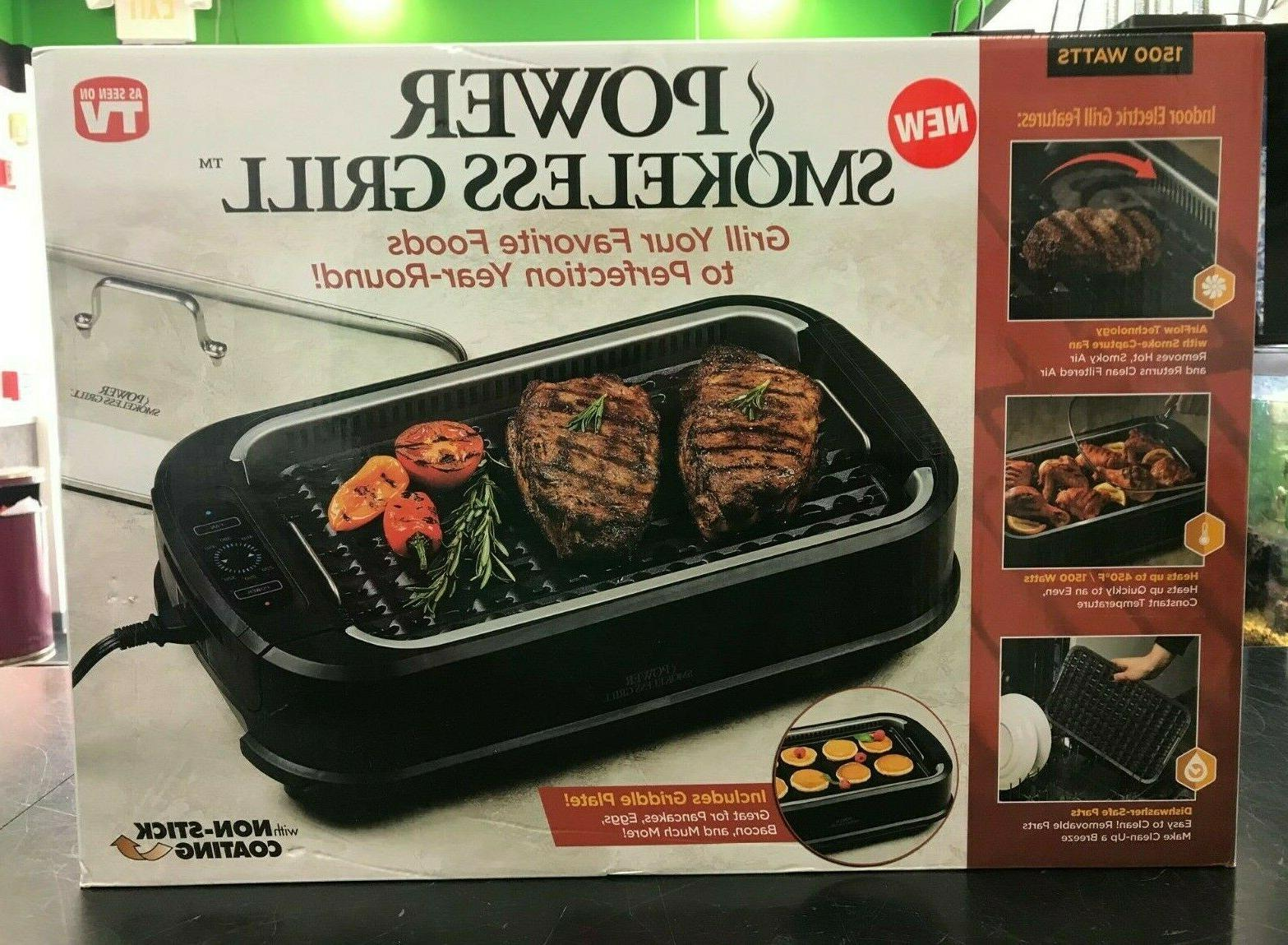 power smokeless grill tempered glass lid smoke