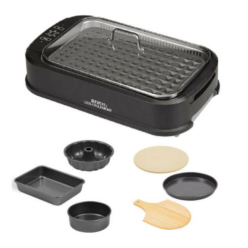 power smokeless grill with 4 piece bakeware