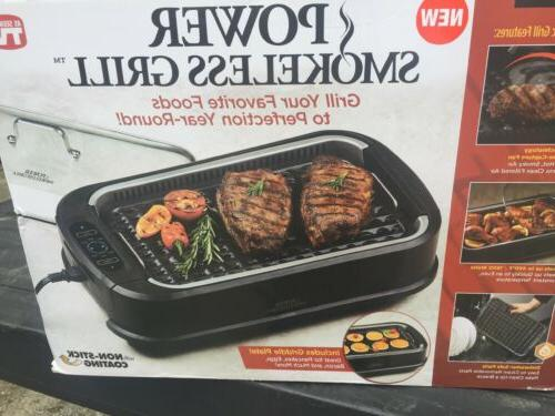 powerxl smokeless grill with tempered glass lid