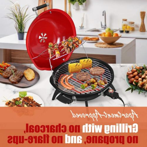 Techwood Indoor/Outdoor Electric BBQ Grill, 18 Red