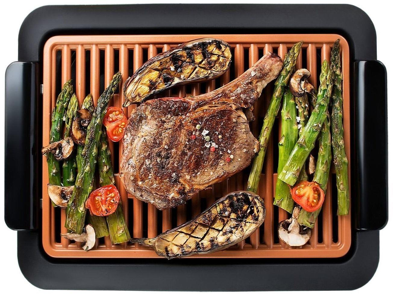 Gotham Steel Smokeless Electric Indoor Grill -Nonstick & Por