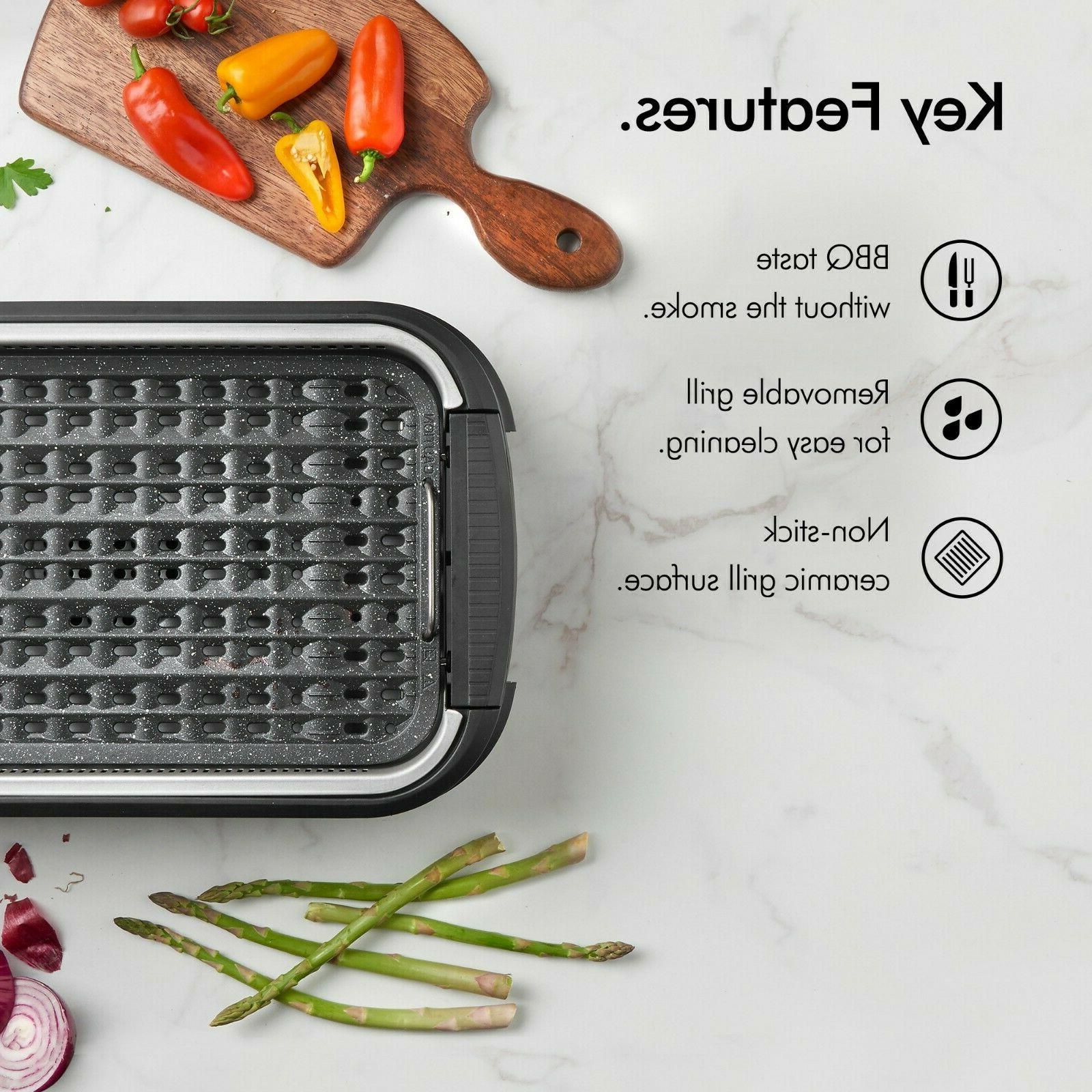 VonShef Smokeless Grill Indoor Barbecue BBQ Stick Griddle 1500W