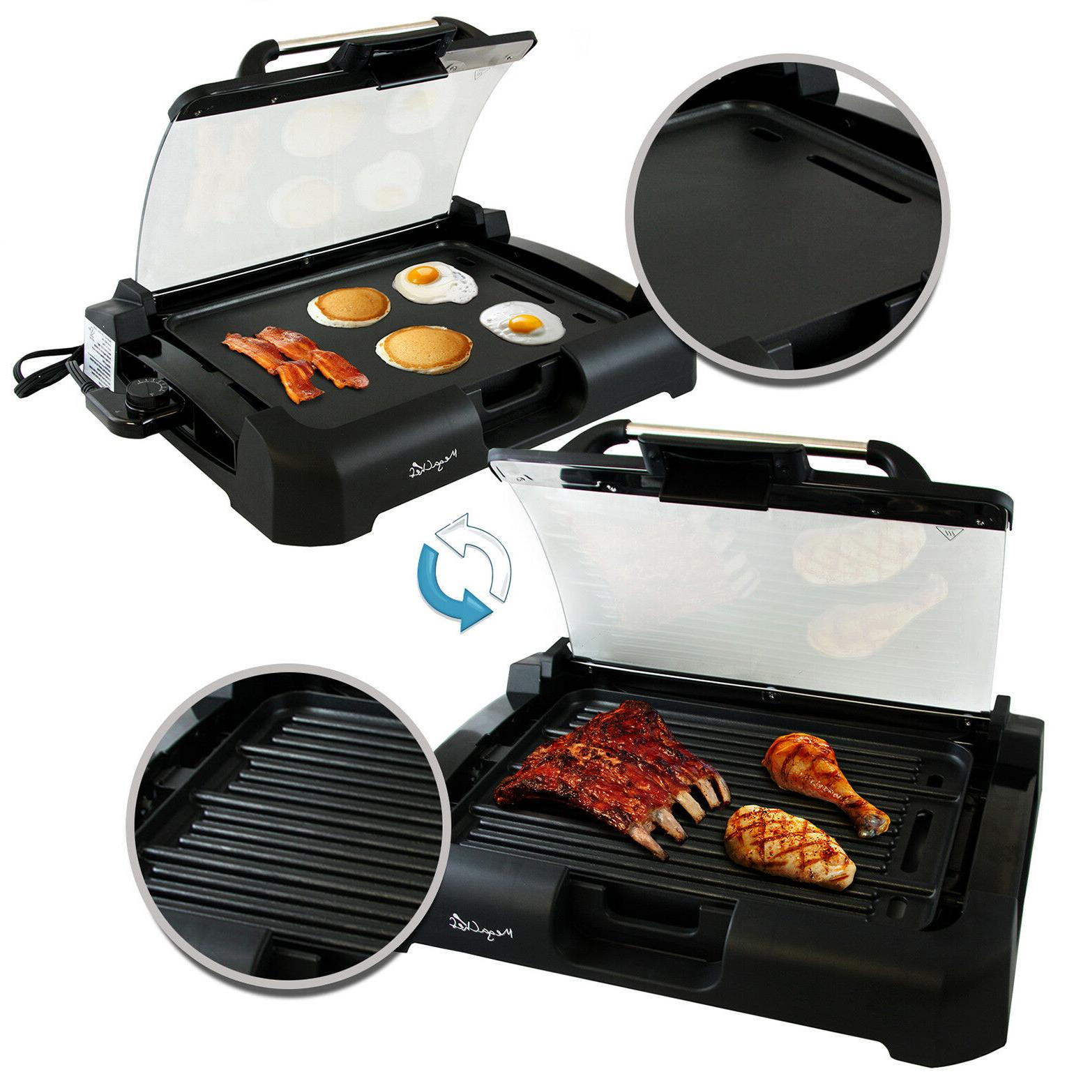 Smokeless Electric 1800 Non-Stick BBQ Removable Glass