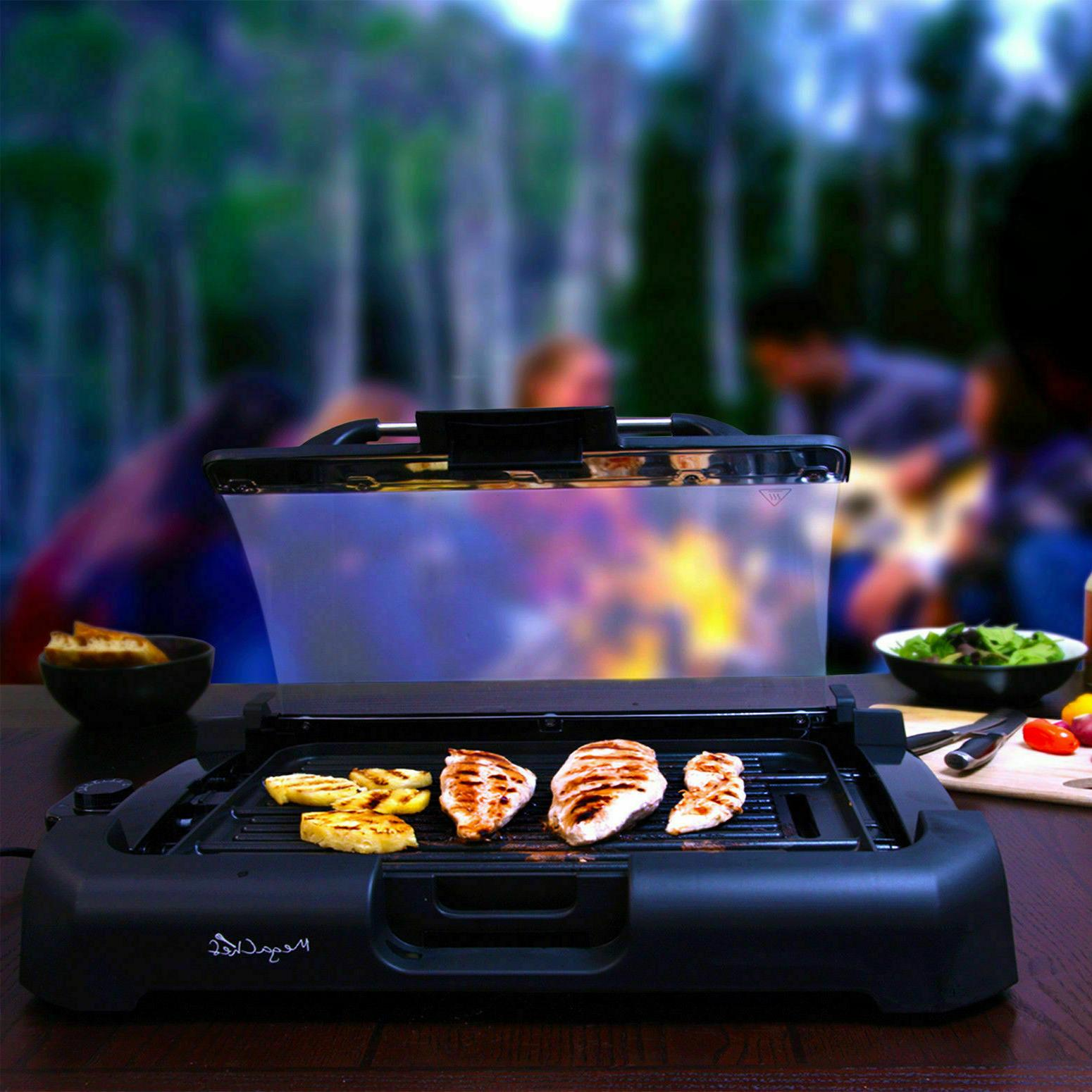 INDOOR GRIDDLE Smokeless BBQ Portable POWER Black Non