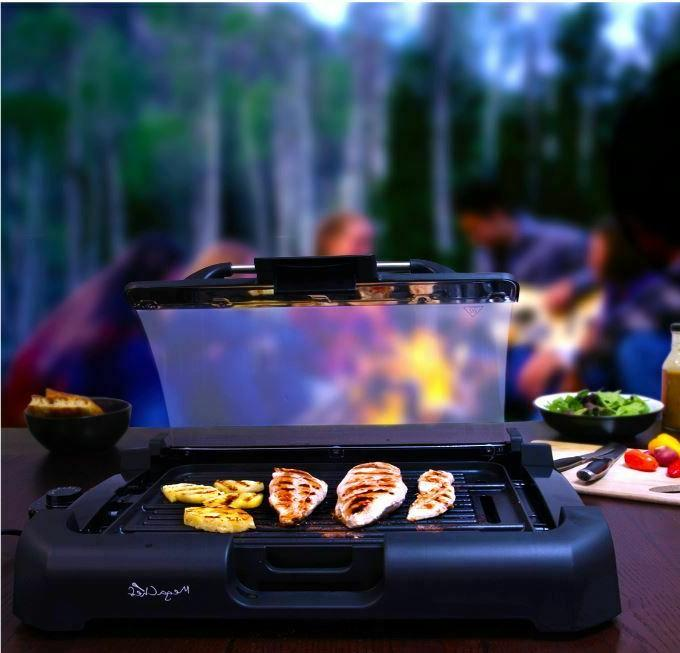 Smokeless Electric Grill Griddle Removable Lid