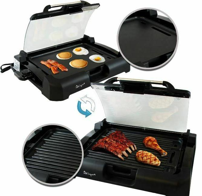Smokeless Indoor Electric Grill Griddle BBQ w/ Removable Glass