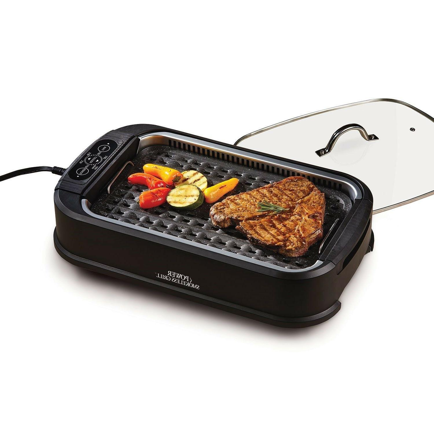smokeless indoor electric grill with lid non