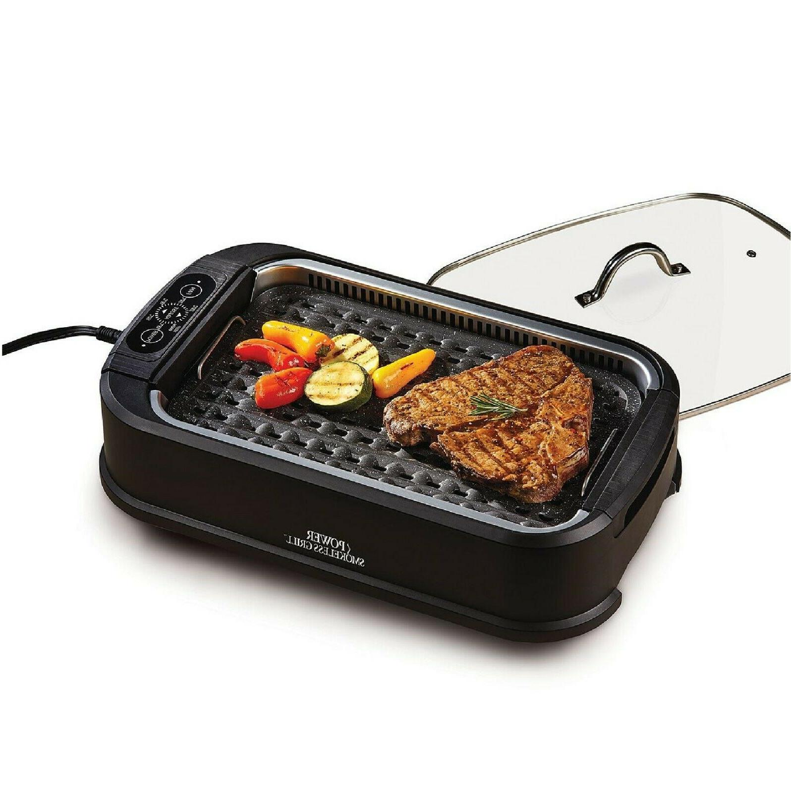smokeless indoor electric power grill with lid