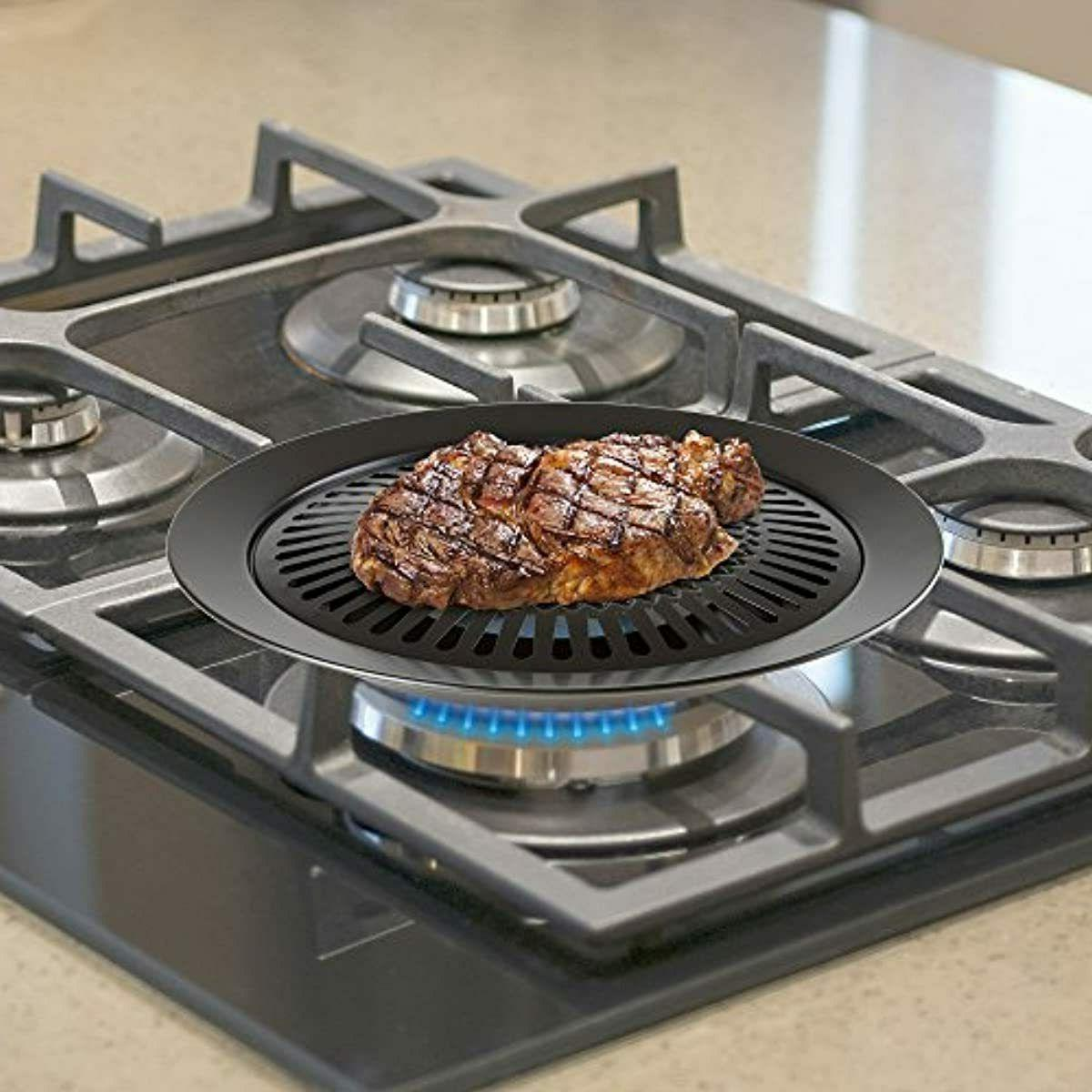 Chef Buddy Smokeless Stove Top Grill for Electric Black