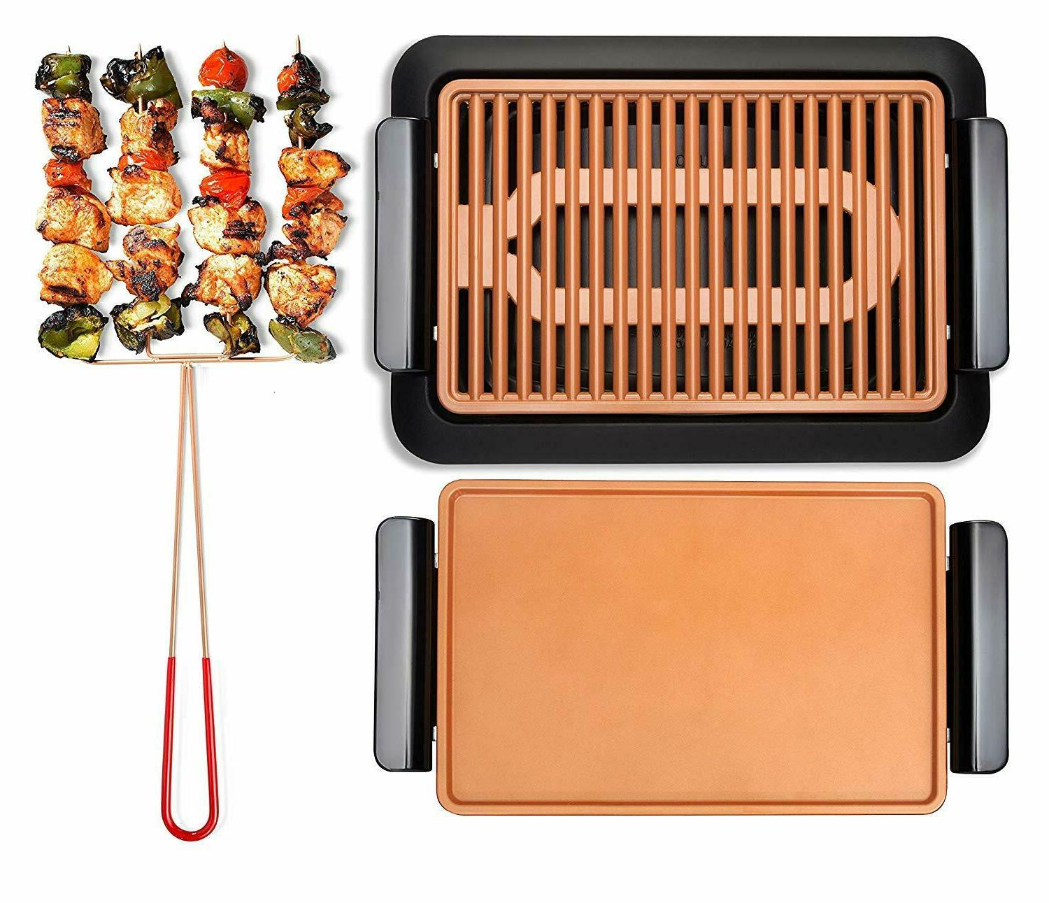 steel smokeless electric indoor barbeque grill griddle