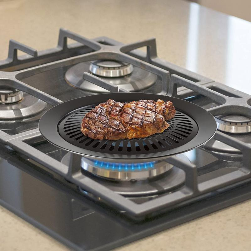 STOVE TOP BBQ Smokeless Nonstick Pan Griddle Electric Gas C