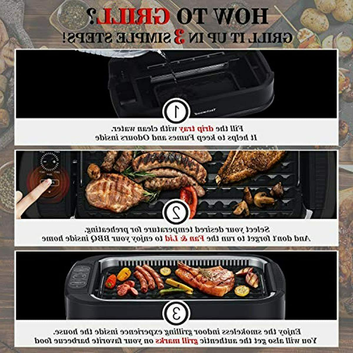 Techwood Indoor 1500W Power Grill with Tempered Glas