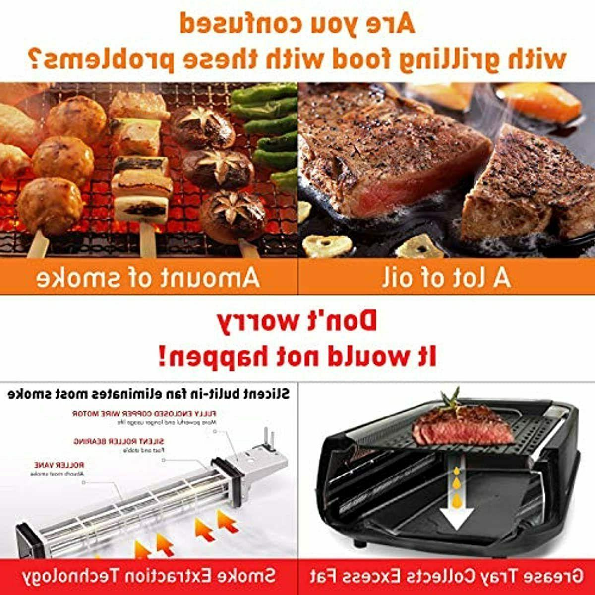 Techwood Smokeless Grill 1500W indoor Grill with Tempered Gl