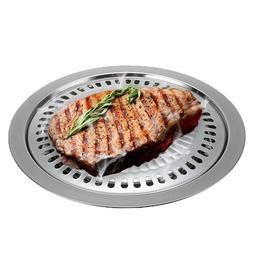 Outdoor Smokeless Barbecue Grill Pan Round Stainless Steel G