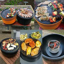 Portable BBQ Charcoal Grill  Barbecue Smokeless Round Garden