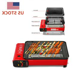 portable bbq grill gas smokeless stainless steel