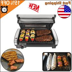 Power Grill Smokeless Indoor Electric With Lid Non-Stick BBQ