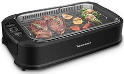 Smokeless Grill 1500W indoor Grill with Tempered Glass Lid,
