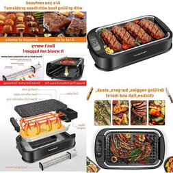 smokeless grill 1500w indoor grill with tempered