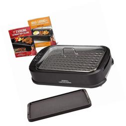 smokeless grill with tempered glass lid interchangeable